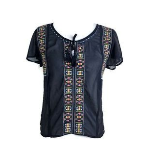 American Eagle Outfitters Embroidered Sheer Top XS